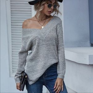 V Neck Sweater Top- GRAY